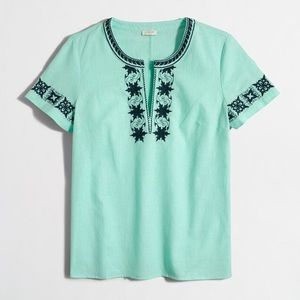 JCrew mint embroidered peasant boho top
